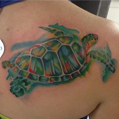 Turtle Watercolor Tattoo done by Cody @ Bodytech Tattooing and Piercing Gainesville Florida. www.bodytechtattoo.com