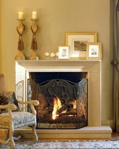 simple stone fireplace mantels - Google Search