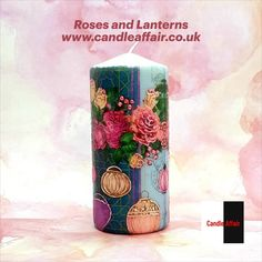 Large wax pillar candle, Art candle, Roses and lanterns, Unique gift, Home decoration Large Pillar Candles, Unique Candles, Best Candles, Candle Art, Rose Candle, Decorative Pillars, White And Blue Flowers, Gifts For An Artist, Christmas Candle