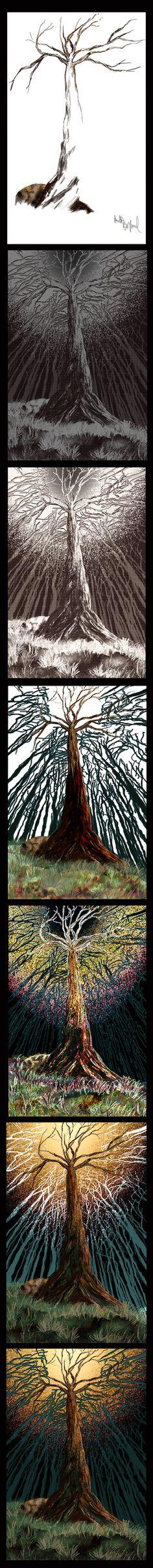 Art, Trees, Colour, Light