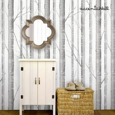 Birch Tree Peel and Stick Fabric Wallpaper Repositionable