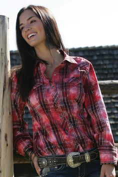 Western Shirts : Pink Plaid Shirt - Cruel Girl WANT!!!