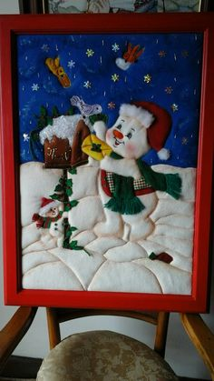 Patchwork sin aguja Felt Christmas, Christmas Themes, All Things Christmas, Christmas Crafts, Christmas Decorations, Christmas Ornaments, Diy And Crafts, Crafts For Kids, Christmas Paintings