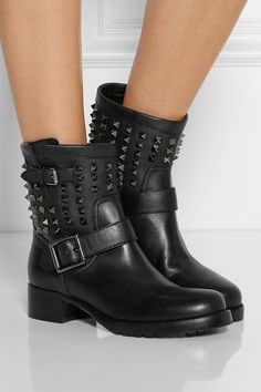 Valentino|Studded leather biker boots|NET-A-PORTER.COM