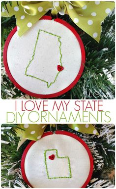 I LOVE My State Ornaments by U Create