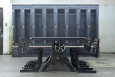 Hure Crank Table, Zen Chairs, and Country Club Lockers by Vintage Industrial Furniture