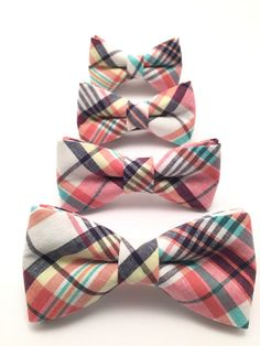 Father and Son Bow Tie set Madras Plaid Bow Tie Mens by Ruells