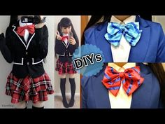 Back to School DIYs: DIY Daily Cosplay Japanese Uniform Jacket+ DIY Love Live Striped Bow Tie - YouTube