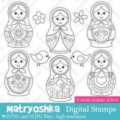 """""""Matryoshka"""" Digital Stamps by pixel paper crafts, via Etsy. Embroidery Patterns, Hand Embroidery, Matryoshka Doll, Thinking Day, Digital Stamps, Colouring Pages, Bunt, Stencil, Needlework"""