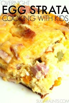 Overnight Egg Strata recipe is perfect for Easter morning, Mother's Day brunch, or any breakfast! This is a great recipe for cooking with kids and so versatile. Use the veggies or meat you have in your house!