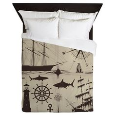 Queen Duvet - Set Of Nautical Design Elements