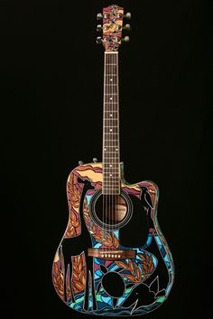 Hand painted guitar by Caren Frost Olmsted