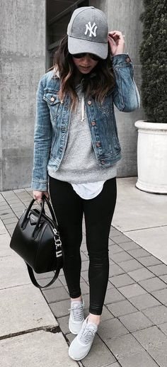 street style obsession / hat + denim jacket + bag + sweatshirt + skinnies + sneakers