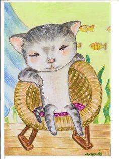水彩ボードにアクリル絵の具使用。あなただけのネコちゃんです。サムホールサイズ(160*230)です。お好きな額にいれてください。|ハンドメイド、手作り、手仕事品の通販・販売・購入ならCreema。