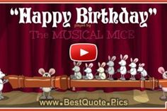 Musical mice are playing flute for your birthday. One of them has a bit of a shortage of things, but in the end it also relaxes. This is a new Birthday song, for Birthday wishes, good wishes for your birthday, funny Birthday song. Free Musical Birthday Cards, Free Happy Birthday Song, Happy Birthday Piano, Birthday Wishes For Kids, Free Birthday Card, Happy Birthday Wishes Cards, Birthday Songs, Funny Birthday, Happy B Day Cards