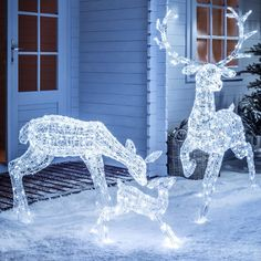 Light Up Led Sparkly Christmas Reindeer Indoor Outdoor Acrylic Figures 3 Styles