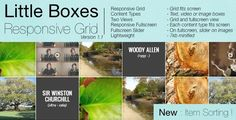 Buy Little Boxes Responsive Grid by yukulelix on CodeCanyon. Item description Little Boxes Responsive Grid is a jquery templating item that let you display your videos, images an. Jquery Slider, Responsive Grid, Little Boxes, Social Networks, Sliders, Image, Small Boxes, Social Media, Romper