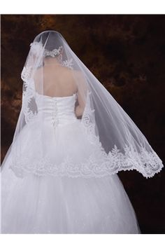 Elegant Lace Trim Edge Wedding Veils