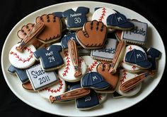 Baseball theme decorated iced cookies - ball, glove, shirt   Icings by Ang
