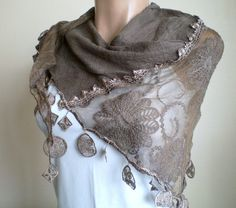 Brown Scarf Lace Shawl Cotton Linen Shrug by fizzaccessory on Etsy, $32.00