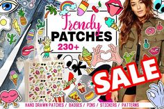 Trendy Patches big set + 12 patterns by mary_shop on @creativemarket