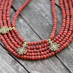 Terracota Ceramic Bead Necklace with Hutsul Cross by Etnicas