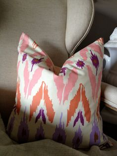 Coral Pink & Purple Ikat Print Pillow Cover 18 by lafermecherie. $25.00 USD, via Etsy.