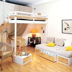 Queen Size Bunk Beds | Loft Beds For Adults . Love This Whole Room Setup.