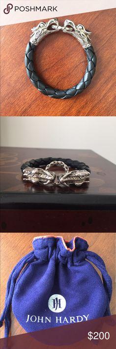 John Hardy Naga Double Head Bracelet Stunning John Hardy statement bracelet. Leather band. Like new condition! Fits smaller wrists beautifully! John Hardy Jewelry Bracelets