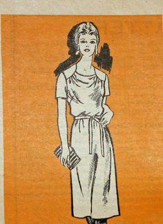 Mail Order Pattern 4558,  Vintage, 1980s, Sewing Pattern, Half Size Dress, Half  Size 14 1/2,  Printed Pattern
