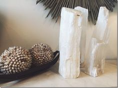 Our chic new selenite crystal fire logs are the perfect home accent as we look forward to the coming fall and winter months. The crystal fire logs feature a unique shape since they are made from na…