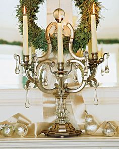 Festive Light:   A French candelabra from the 1930s presides over the mantel in Martha's East Hampton, New York, home during the holidays.