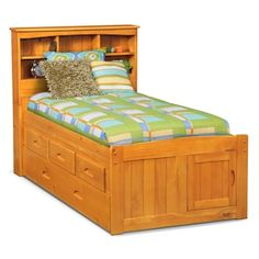 Ranger Full Bookcase Bed with 3 Underbed Drawers and Trundle - Merlot | Value City Furniture and Mattresses