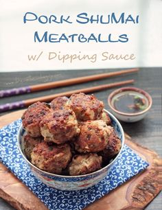 Pork Shumai Meatballs with Dipping Sauce (low carb and gluten free) - ibreatheimhungry.com