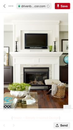 ( like the simple white fireplace but maybe a gray slate instead of white brick) Classic Living Room — Simply Inspired Design ~ Intentional Design § Intentional Living Tv Over Fireplace, Fireplace Wall, Living Room With Fireplace, Fireplace Surrounds, Fireplace Design, Home Living Room, Living Room Designs, Fireplace Ideas, Fireplace Molding