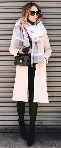 beautiful outfit idea : blush pink coat + bag + jeans + boots + colorful scarf