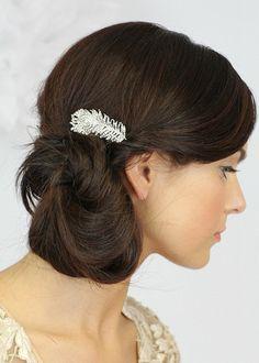 Vintage hair comb, crystal pearl wedding hair piece, Crystal Peacock Feathers Comb, Wedding Hair Comb , Crystals Peacock hair -Style 273