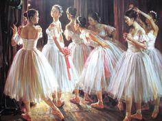 Pintura al óleo. Bailarinas de ballet._oil painting_ballet dancers