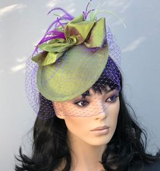 Kentucky Derby Hat, Wedding Hat, Ladies Silk Saucer Hat, Women's Formal Purple & Green Hat, Royal Ascot Saucer Hat