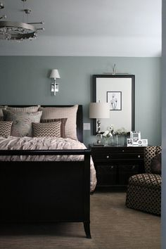 master bedroom paint colors Black furniture with walls that are blue with a green tint. This is my favorite color ever. Beach Glass, 1564 by Benjamin Moore. Muebles Color Chocolate, Benjamin Moore Beach Glass, Benjamin Moore Bedroom, Revere Pewter Benjamin Moore, Girls Bedroom, Bedroom Decor, Trendy Bedroom, Dark Furniture Bedroom, Bedroom Beach