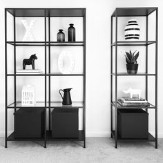 (@vee.zel) on Instagram: Scandinavian decor | Nordic inspiration | Shelfie | Shelf decoration | Shelves | Shelf decor | Ikea Vittsjö | Valentines Day decorations | Black and white | Monochrome | Xoxo | Minimalism | Minimalist decor | Home decor | Dala horse | Kähler Omaggio | Target home decor