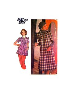 Butterick 4352 Loose Fitting, A-Line Dress or Top with Short Sleeves and Pointed Collar, Uncut, Factory Folded, Sewing Pattern Size 12 1960s Fashion, Line, Sewing Patterns, Size 12, Short Sleeves, Tops, Dresses, Vestidos, Modern 60s Fashion