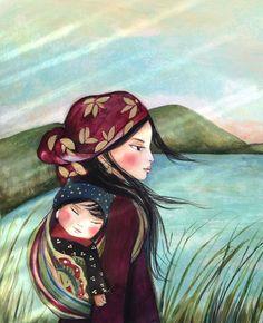 Madre y el niño en la mañana impresión de arte por claudiatremblay