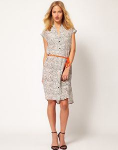 Silk Printed Dress with Neon Belt - With Ankle Boots