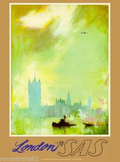 London-SAS-Air-England-Great-Britain-Vintage-Travel-Advertisement-Art-Poster