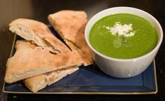 spinachy green soup and georgian bread