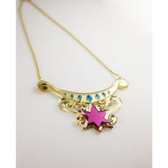Twilight Sparkle Element of Magic Necklace ($20) ❤ liked on Polyvore featuring jewelry, necklaces, blue pendant, mirrored jewelry, pendant jewelry, hot pink jewelry and pendants & necklaces