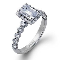 Setting for amethyst but without diamonds. emerald cut engagement ring settings - Google Search