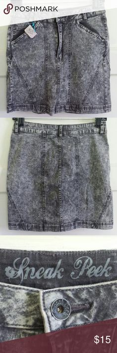 Sneak Peek Paneled Acid Wash Denim Skirt Great condition, like new, reposh, stonewash jean skirt with pockets, button and zipper fly, good amount of stretch, high waisted bodycon style. Very flattering! More gray color or faded black. Made to look retro. Very 90's revival! Size large. Sneak Peek Skirts Mini