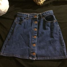 Jean skirt. hipster/vintage medium but fits like a small. didn't fit as expected, haven't touched it since. Forever 21 Skirts Mini